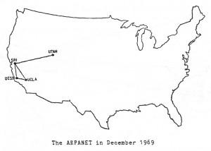 ARPANET, predecesor de Internet, en sus inicios